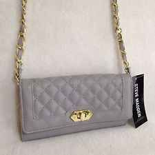STEVE MADDEN Grey Crossbody Turnlock Wallet With Gold Chain Strap