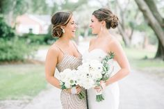 Bride and Maid of Honor. We love when a bride chooses a different dress to let her Maid of Honor stand out. Loving this Maid of Honor's sparkly tan dress.  Wedding Planner | Mac & B Events >> Photographer | Aaron and Jillian Photography >> Florist | Out of the Garden