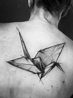 Origami flying bird by Inez Janiak.  http://tattooideas247.com/origami-bird/