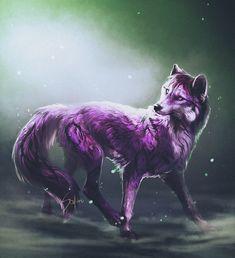 The purple. by Safiru on Deviant Art Digital Art / Drawings & Paintings / Fantasy©2015 Safiru #purple #wolf #canine