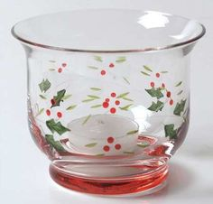 Pfaltzgraff Winterberry Hand Painted Glassware Votive Candleholder - Christmas Holiday