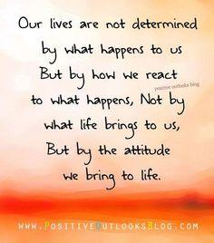 """ღ """"Our lives are not determined by what happens to us but by how we react to what happens ~ not by what life brings to us, but by the attitude we bring to life.""""  ღ"""