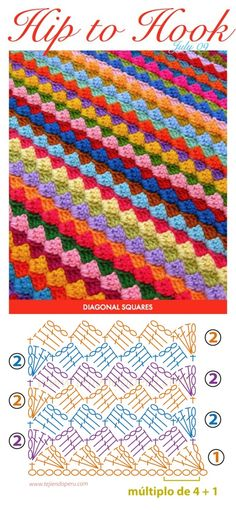 very easy pattern for all you crochet lovers it is a diagonal square pattern