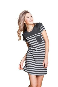 Suntasty Women's Nightgown Cotton Sleep Shirt Striped Robes Nightwear >>> See this great product.