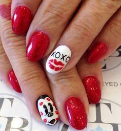 Valentine Day Mickey nails