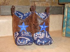 Cowboy Baby Boots Blue with blue stars by RusticAttitude on Etsy
