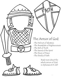 Armor of God Coloring Page for Kids. Use at the END of