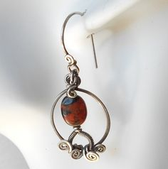 Silver Earrings with Jasper Hoop Earrings Red and by byawire, $58.00