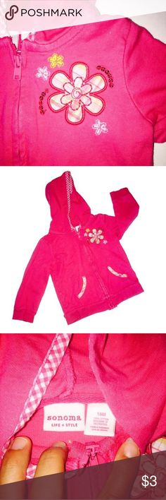 18M Pink Sweater Sonoma 18M Pink Sweater Hoodie Perfect for fall Freshly laundered, only ever used baby detergent   No flaws, Excellent condition  Smoke free home   Shop on and bundle this with other great finds for an awesome deal!    Be sure to Like, Share, Follow, and ask any questions!  Thanks for visiting my closet!    All proceeds go to Giovanni's college fund and pool fund so he has something fun for his next Florida summer!😃Shipping level set for bundle purposes, if you would like…