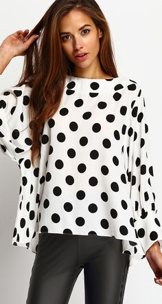Cute Girl - Black Polka Dots Batwing Sleeve Blouse from SheIn