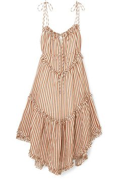 Zimmermann | EXCLUSIVE Lumino asymmetric ruffled striped linen midi dress | NET-A-PORTER.COM