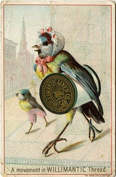 A movement in WILLIMANTIC Thread ~ Vintage Trade Card