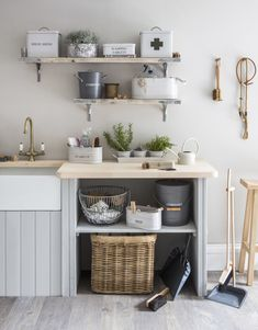 Everything needed for a perfectly organised utility room. Buckets, boxes, dustpans, brushes and rustic shelving. Click the image to view the complete collection | Garden Trading