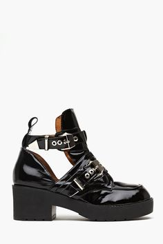 Coltrane Cutout Boot in Black Patent