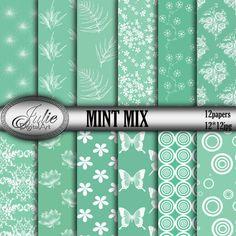 Premium Mint Digital paper Mint mix Digital от JulieDigitalArt
