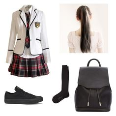"""""""School girl"""" by kwonyuri-1 ❤ liked on Polyvore featuring Converse, Falke and rag & bone"""