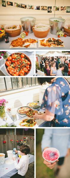 This is the BEST reception!  A full homemade spread including pizzas and a shave ice machine.    Featuring Rin & Joe @HandmadeWeddings on Etsy.