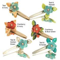 Ardent Designs Handmade Glass Beads Flower Hair Clips