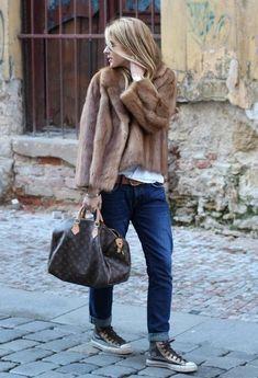 a brown fur jacket with dark blue boyfriend jeans for a casual level of dre., Team a brown fur jacket with dark blue boyfriend jeans for a casual level of dre., Team a brown fur jacket with dark blue boyfriend jeans for a casual level of dre. Fur Fashion, Look Fashion, Street Fashion, Winter Fashion, Fashion Women, Fashion Outfits, Stylish Winter Coats, Winter Fur Coats, Fur Coat Outfit