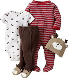 Amazon.com: Carter's Baby Boy 4 Pc Take Me Home Set Reindeer: Clothing