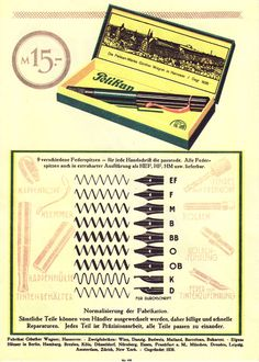 Pelikan Nib Sizes in 1929