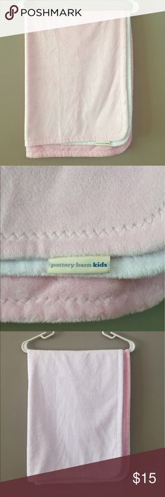 """Pottery Barn Pink Stroller Blanket Super soft and snuggle chamois stroller blanket from Pottery Barn Kids. Washed once, barely used. I have another one at home that my baby girl loves! Perfect for those cool morning walks or evening outings. 30x40"""", hypoallergenic, pet and smoke free home. Pottery Barn Other"""