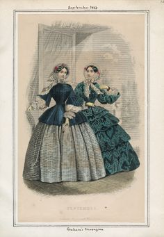 Graham's Magazine, September 1856.  Civil War Era Fashion Plate