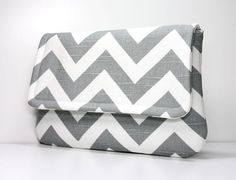 Clutch Purse  Gray and White Chevron  Ready to by OceanPearlBags, $27.50