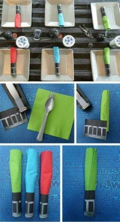 Wrap free printables around utensils to make napkin lightsabers. DIY star wars party