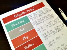 Beautifully Organised: Free printable: Babysitter Notes