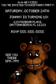 Five Nights at Freddys Custom Birthday by PixieCraftsandParty #freddyfazbear #fnaf #fivenightsatfreddys #custominvitation
