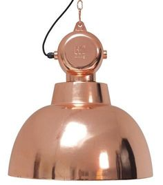 HK Living has developed a modern version of the old factory lamps with transformer box (used only for decoration), this time in copper color.