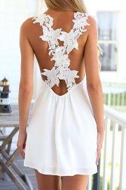 White Floral Crossover Back Mini Dress
