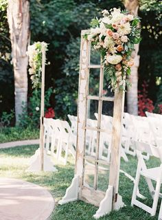 These french door window panes add such a striking entrance for the bride to walk down the aisle to her love.