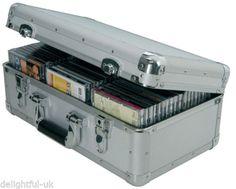 Aluminium-Silver-Metal-Record-Box-CD-Flight-Carry-Case-Holds-96-Secure-Lock-Key