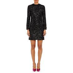 Saint Laurent Women's Zebra-Pattern Pailette Dress ($3,490) ❤ liked on Polyvore featuring dresses, black, sequin dresses, long sleeve embellished dress, longsleeve dress, beaded dress and long sleeve beaded dress
