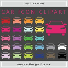 24 Car Icon Clipart Colorful Rainbow Color Cars by NedtiDesigns