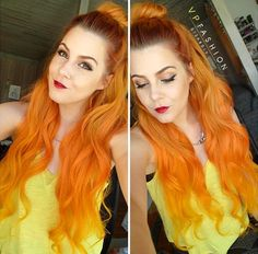 Orange hair color is also incredible nice~ with cut top bun,pretty hairstyle from @thekamirenee