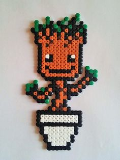 Baby Groot from the Guardians of the Galaxy pixel art perler