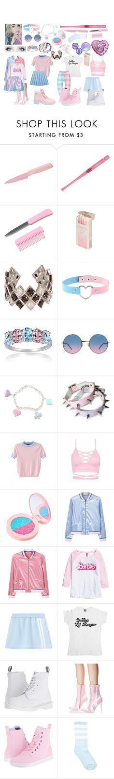 """""""Dc: Pastel Harley Quinn"""" by cartoonvillian ❤ liked on Polyvore featuring Kuhn Rikon, Coopersburg, Elise Dray, Glitzy Rocks, Marc Jacobs, Sterling Essentials, MANGO, H&M, Dr. Martens and Current Mood"""