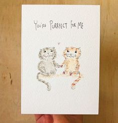 THURSDAY GIVEAWAY!! - I'm giving away this hand-drawn original illustration to celebrate Valentine's Day. There's only ONE of these purrfect little valentine's cards. . All you have to do is TAG a lucky friend lover or cat-lover and it could be yours. . I'll announce the winners in a few days and send it off express :) . Thanks so much for all your support and orders. It's been overwhelmingly great