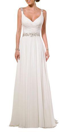 Harshori cuello en V correas de hombro del vestido de boda de la gasa suave fruncido en la tienda de ropa de las mujeres del Amazonas: