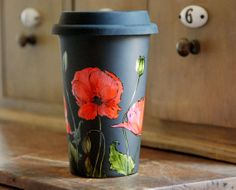 Hand Painted Black Ceramic Travel Mug  Poppy Botanical by yevgenia