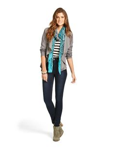 'Sophie'+Textured+Waterfall+Jacket+&+'Nissa'+3/4+Lace+Stripe+Top+with+'Lottie'+High+Rise+Skinny+Jeans+-+