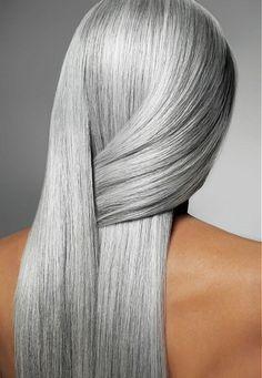 White Hot - Long Grey Straight hair styles (22130)