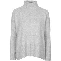 TOPSHOP Oversized Funnel Neck Sweater ($70) ❤ liked on Polyvore featuring tops, sweaters, topshop, grey marl, marled sweater, funnel neck top, grey top and gray top