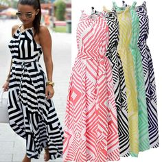 2017 Womens Fashion Boho Long Dress Sexy Halter Off Shoulder Striped Long Maxi Dress Party Summer Beach Dresses Sundress