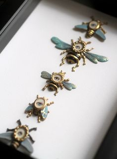Cabinet of Curiosities Specimen no. 42 - The Honey Bee Eye Flies - original 3D insect paintings by Mab Graves