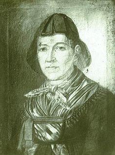 T. Moser: Die Frau des Vogtsbur Andreas Harter, geb. Hauer, um 1830  Schleifenkappe mit über der Stirn ang anliegenden flachen Schleifen, de... #Schapbach