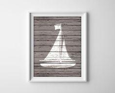 Nautical Sailboat Wood Art Prints  Rustic Nautical by BySamantha, $9.00